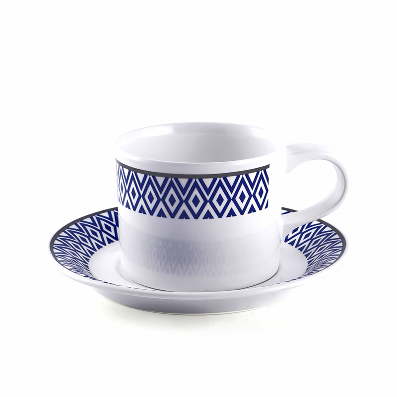 "Vague Melamine Coffee Cup 3.3"" with saucer 5.9"" Blue Line"