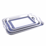 Vague Melamine 2 Handle Tray Blue Line, available in different sizes