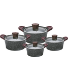 Vague cookware set 16 pieces dark grey color