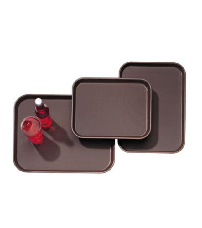 Non Slip Tray Rectangular Plastic With Rubber, brown color, available in different sizes