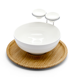 Porcelain Chip & dip with Bamboo Stand / 30*29.5*16.5cm