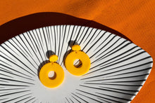 Load image into Gallery viewer, Handmade bold colourful yellow 60s style circle earrings.