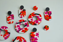 Load image into Gallery viewer, Marimekko Inspired Floral Drop Studs