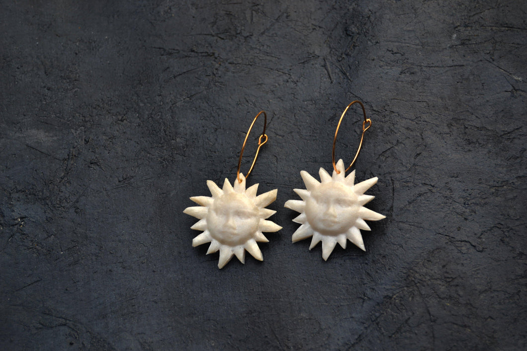 Sun Face, Lightweight Hoop Earrings