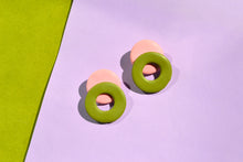 Load image into Gallery viewer, Memphis Loop Studs, Pink and Green