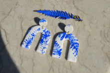 Load image into Gallery viewer, Blue Fern Leaf Print Clay Earrings