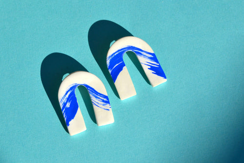 Blue Wave Clay Arches Earrings - Sophie Filomena