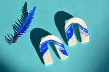 Load image into Gallery viewer, Blue Wave Clay Arches Earrings - Sophie Filomena