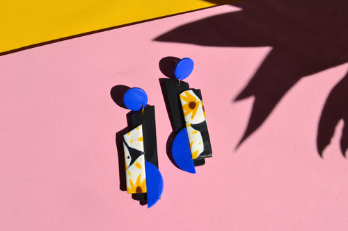 Geometric Sunflower Collage Earrings, One Off Make - Sophie Filomena