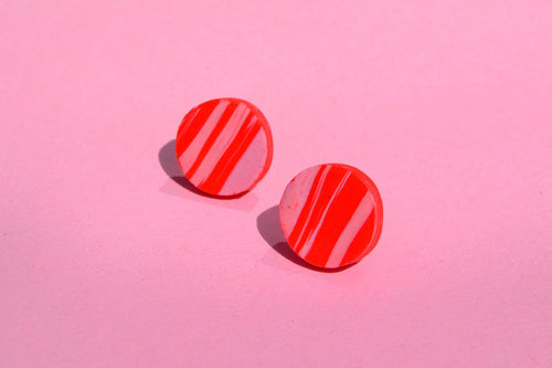 Tiny Pink and Red Marble Studs - Sophie Filomena