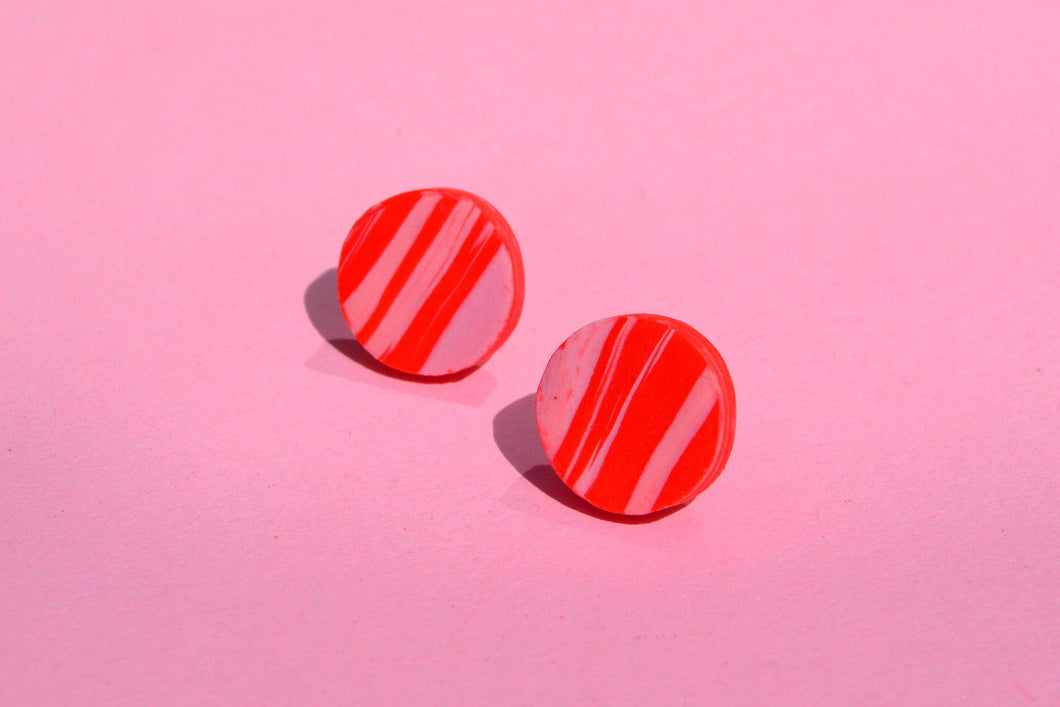 Tiny Pink and Red Marble Studs