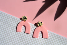 Load image into Gallery viewer, Pink Arches With Cow Print Studs