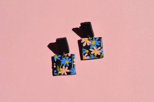 Beautiful handmade vintage style clay earrings. forget me not pattern made in Bristol UK by Sophie Filomena.