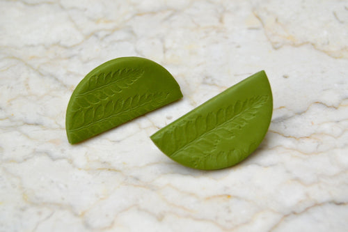 Fern Leaf Print Clay Earrings - Sophie Filomena