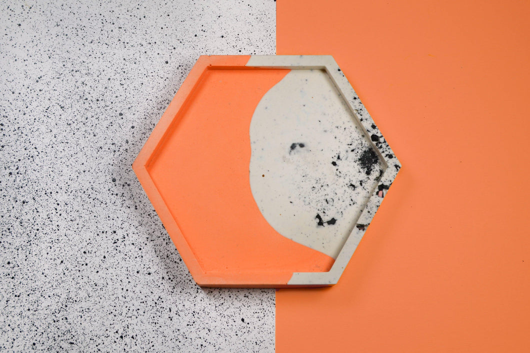 Granite and Coral Trinket Dish, Hexagon - Sophie Filomena