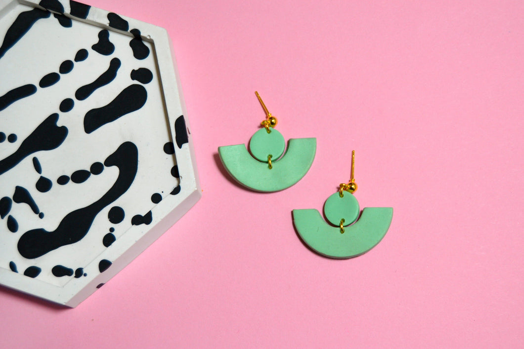 Pastel Green Art Deco Studs (Limited) - Sophie Filomena