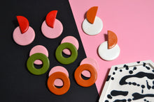 Load image into Gallery viewer, Memphis Loop Studs, Terra and Pink - Sophie Filomena