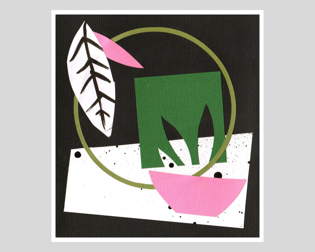 GARDEN II - Abstract Paper Collage Original, A5 Paper Floral Memphis Milano 80s Inspired Geometric Pink Green