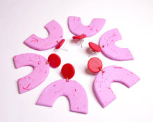 Load image into Gallery viewer, Strawberry Terrazzo Arch Earrings