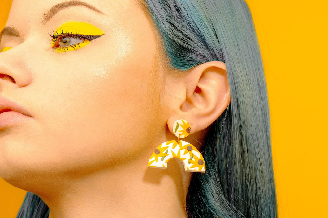 Handmade sunflower arches earrings by Sophie Filomena.