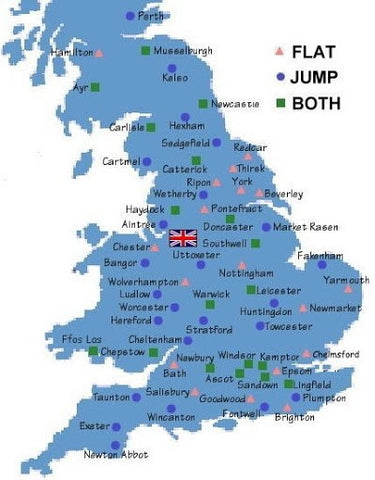 A map of racecourses in the United Kingdom
