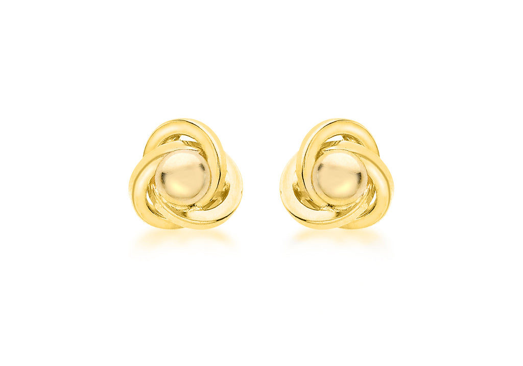 9 Ct. Yellow Gold Knot And Ball Stud Earrings