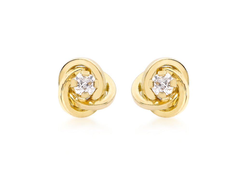 9 Ct. Yellow Gold Knot Stud Earrings
