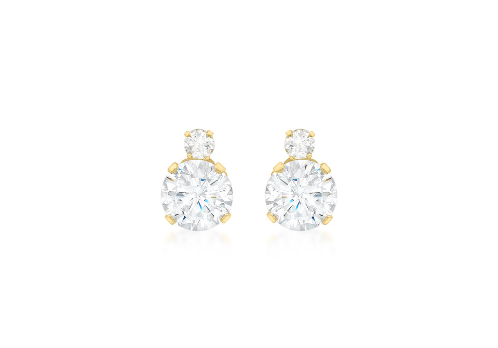 9 Ct. Yellow Gold Cz 2 Stone Stud Earrings