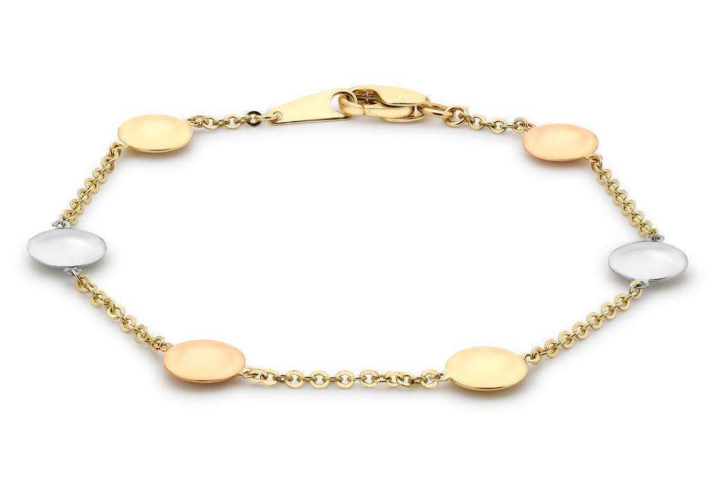 9 Ct. 3 Colour Gold Disc Link Bracelet