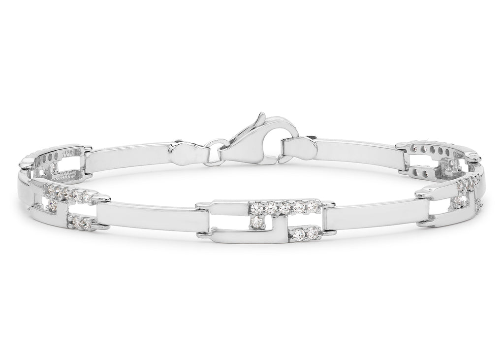 9 Ct. White Gold Cz Rectangular Link Bracelet