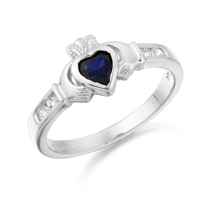 9ct White Gold CZ Sapphire Claddagh Ring with Channel set stone shoulders