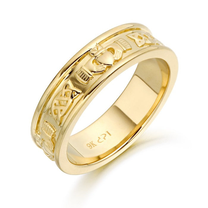 9ct Gold Claddagh  Band with Celtic design