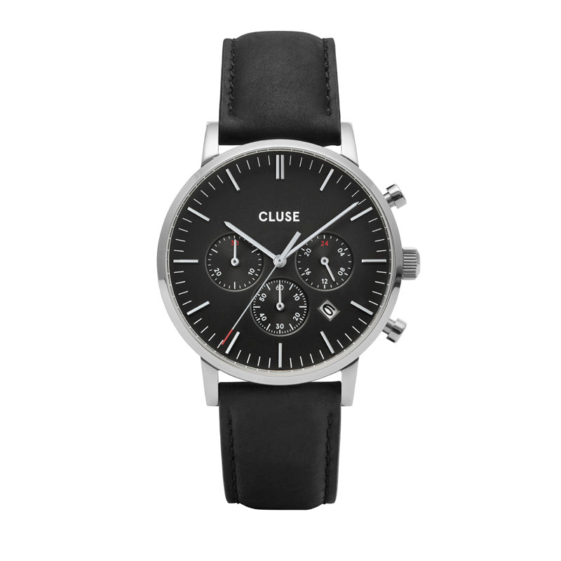 Cluse Aravis chrono gents black leather silver watch