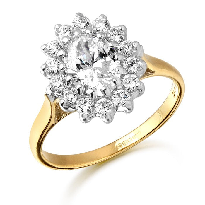 9ct Gold Lady Di Style CZ Ring with claw stone setting