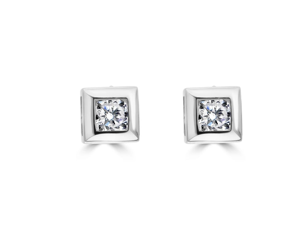 Sterling silver square cut cubic zirconia earrings