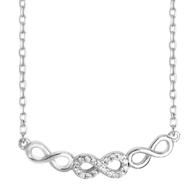 Sterling Silver rhodium plated Infinity Necklace