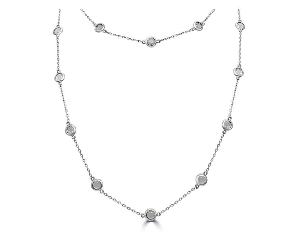 "Sterling silver 34"" necklace set with cubic zirconia"