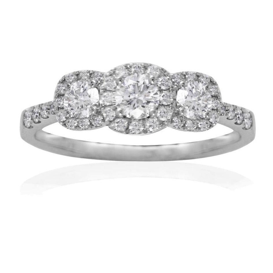 18CT White gold triple Diamond Cluster Ring