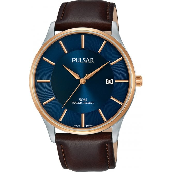 Gents Pulsar Watch on Brown Leather Strap