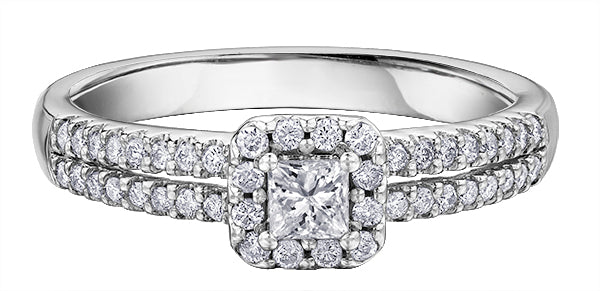 18CT White Gold, Princess Cut, Canadian Diamond Ladies Engagement Ring