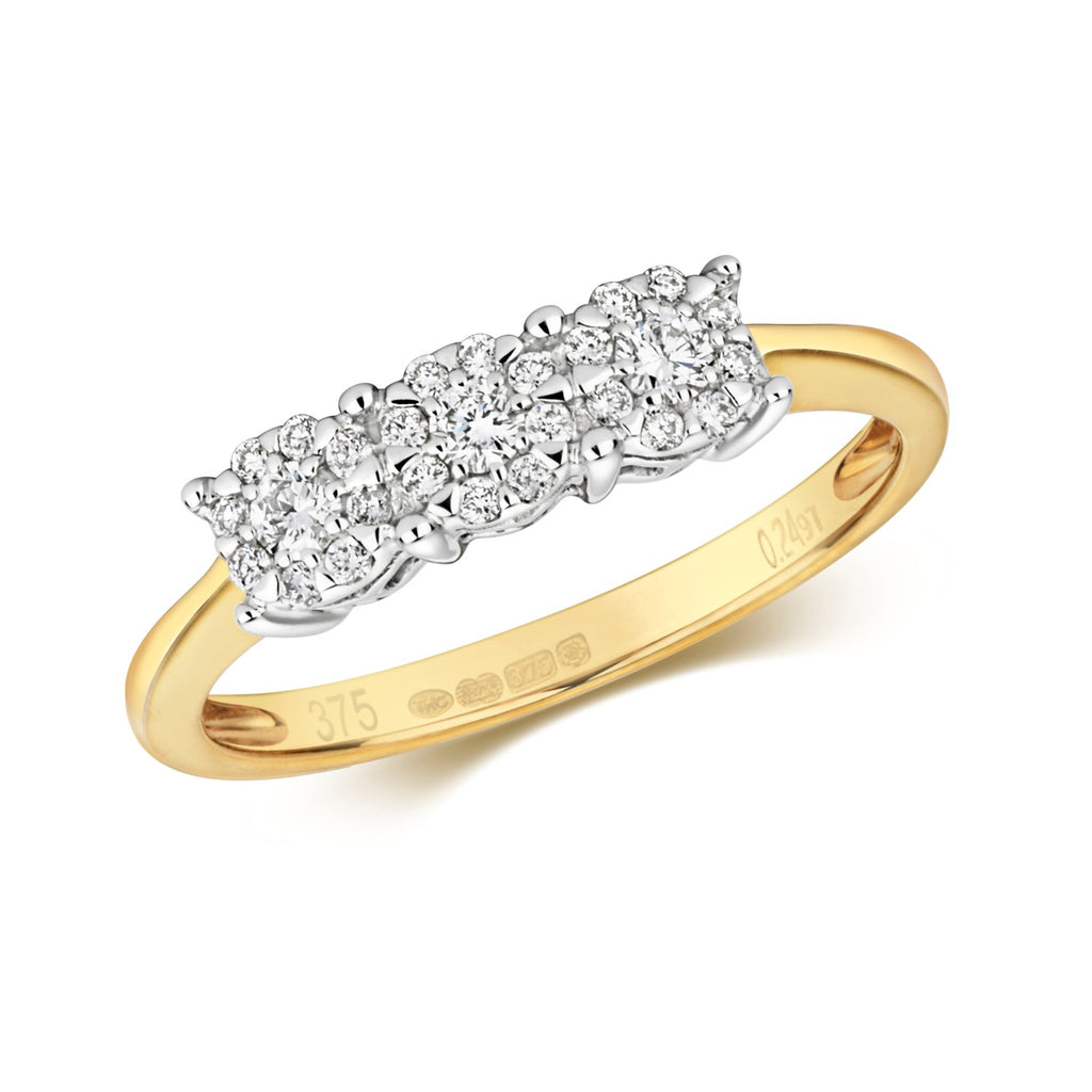 9CT YELLOW GOLD RING DIAMOND BRILLIANT RANGE 3 STONE CLUSTER RING