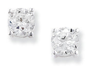 Sterling silver 4 claw cubic zirconia earrings