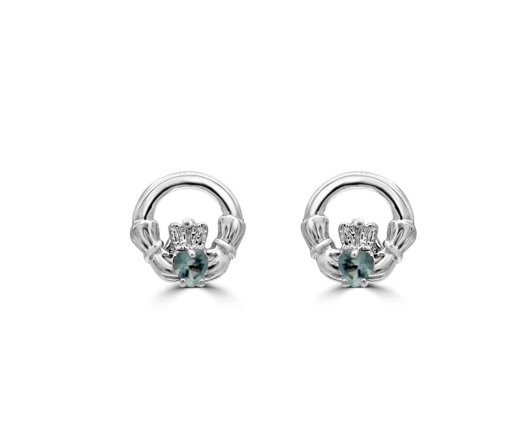 Sterling silver claddagh stud earrings with aquamarine