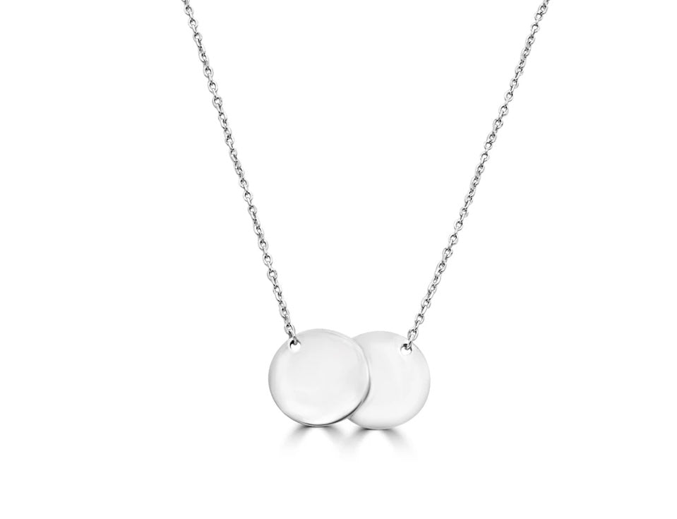 Sterling silver double disc pendant