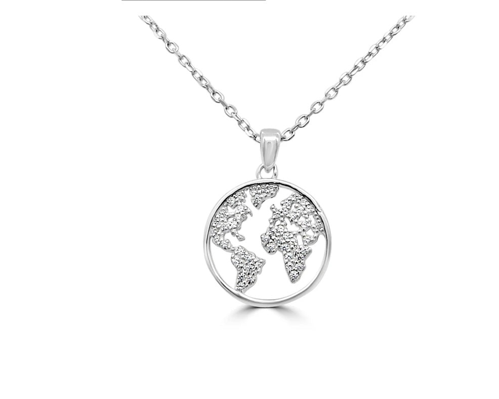 Sterling silver cubic zirconia world pendant
