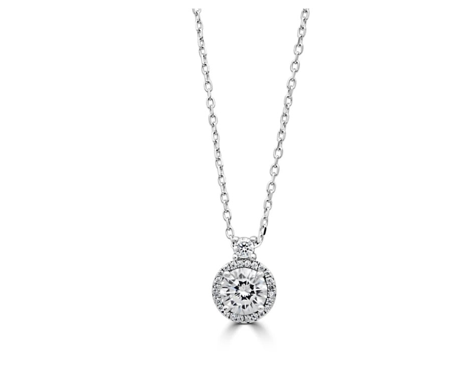 Sterling silver cubic zirconia halo pendant