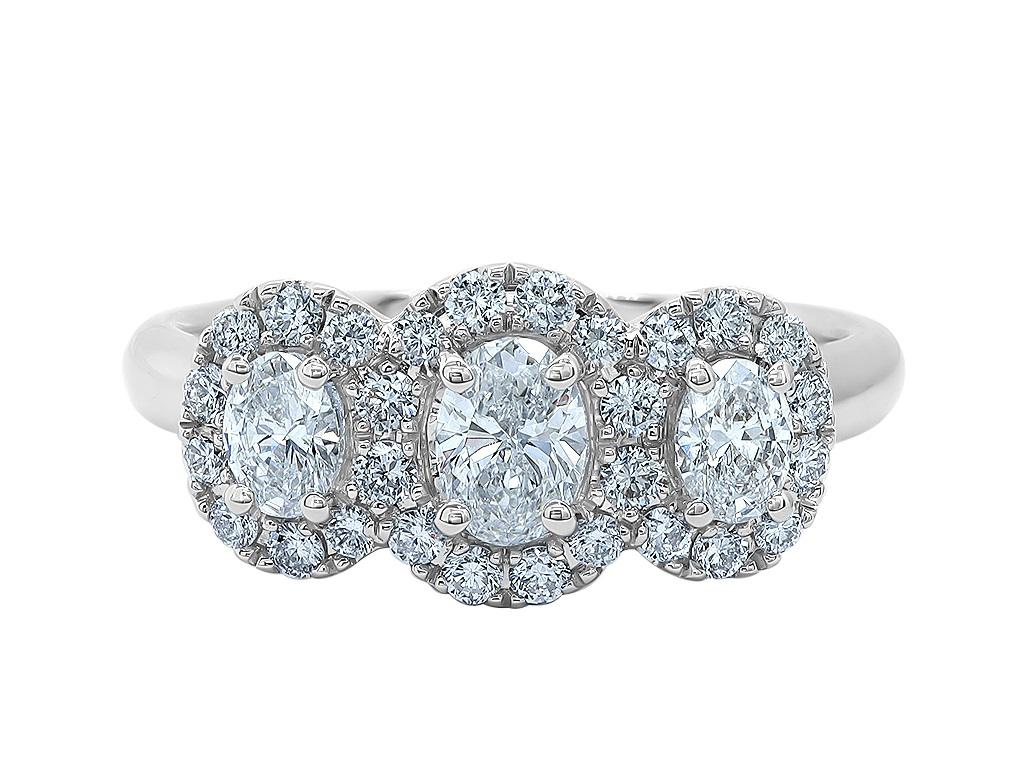 18 ct White Gold Triple Diamond Cluster Ring