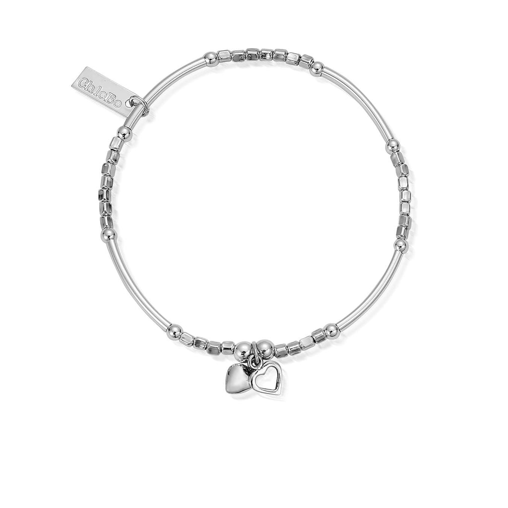 Mini Noodle Cube Double Hearts Bracelet