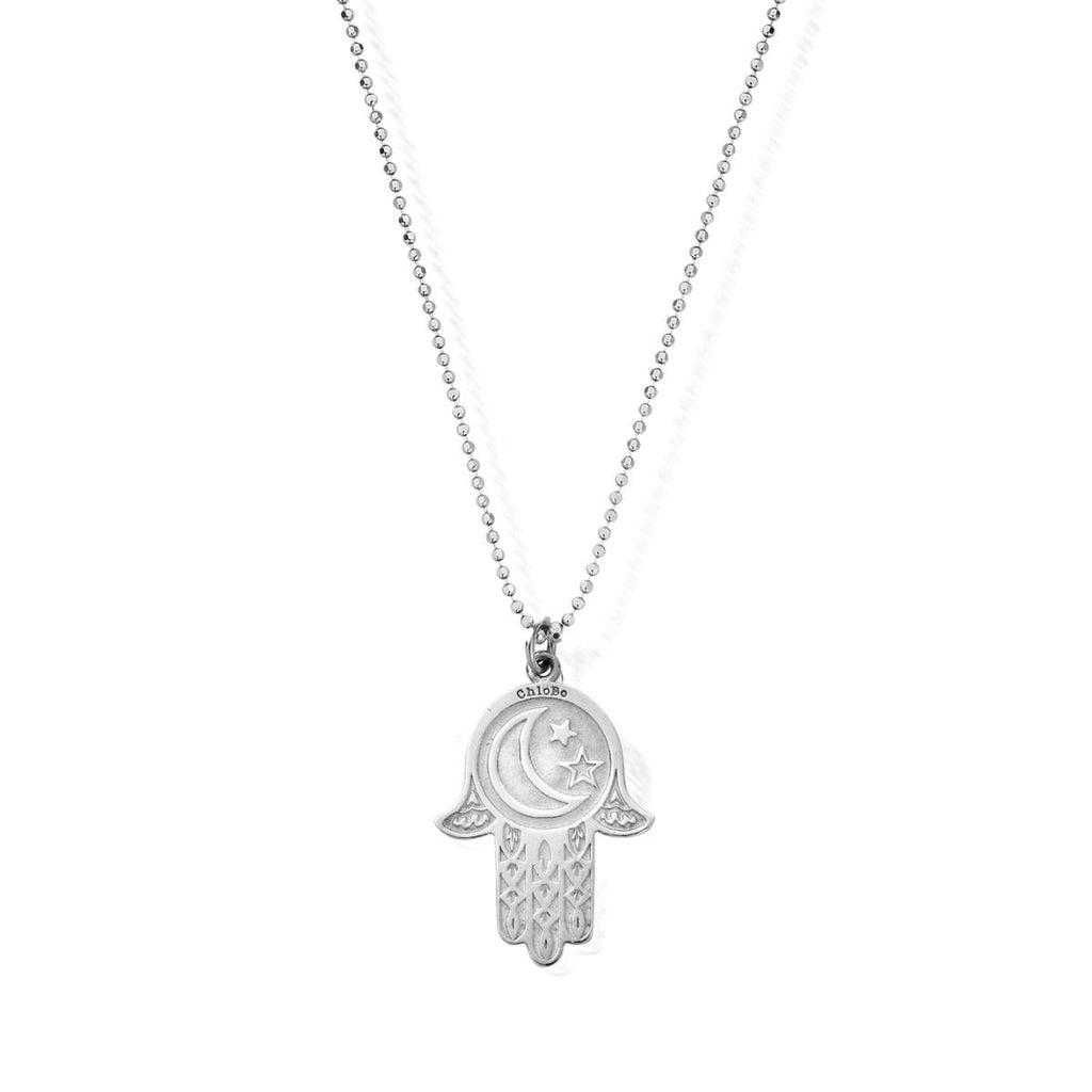 Diamond Cut Chain With Moon Star Hamsa Hand Pendant