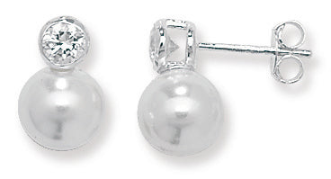 Sterling silver syn pearl and cubic zirconia stud earrings